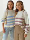 Молочный свитер свободного кроя в розовую полоску 54892, фото 5