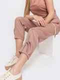 Укороченные брюки с завышенной талией розовые 47745, фото 2