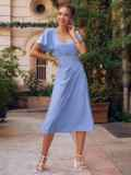 Голубое платье с вырезом на спинке и расклешенной юбкой 54398, фото 2