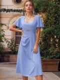 Голубое платье с вырезом на спинке и расклешенной юбкой 54398, фото 3