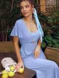 Голубое платье с вырезом на спинке и расклешенной юбкой 54398, фото 4