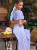 Голубое платье с вырезом на спинке и расклешенной юбкой 54398, фото 6