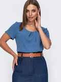 Свободная блузка из крепа голубая 49425, фото 1
