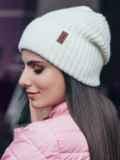 Зимняя шапка с отворотом молочного цвета 40526, фото 2
