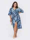 Принтованное платье с юбкой на запах голубое 53871, фото 5