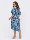 Принтованное платье с юбкой на запах голубое 53871, фото 6