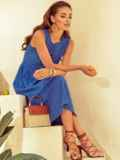 Расклешенное платье из прошвы с фигурным вырезом синее 53866, фото 3
