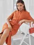 Терракотовое платье-рубашка приталенного кроя с воротником-стойкой 50143, фото 4