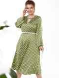 Зеленое платье батал в горошек с расклешенной юбкой 53644, фото 2