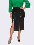 Черная юбка из льна с пуговицами 54400, фото 2