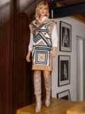 Бежевое платье без рукавов с геометрическим принтом 52628, фото 2