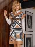 Бежевое платье без рукавов с геометрическим принтом 52628, фото 4