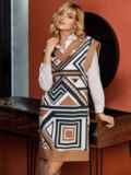 Бежевое платье без рукавов с геометрическим принтом 52628, фото 7