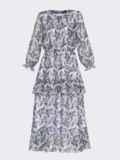 Платье-миди из шифона с принтом и высоким разрезом белое 53102, фото 5