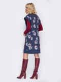 Темно-синее платье без рукавов с принтом 52627, фото 4