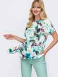 Блузка с цветочным принтом и вшитым поясом сбоку белая 49113, фото 2