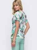 Блузка с цветочным принтом и вшитым поясом сбоку белая 49113, фото 3