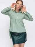 Блузка зелёного цвета с удлиненной спинкой 45648, фото 2