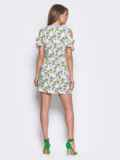 Платье-мини с открытыми плечами, принт «зеленые листочки» 11063, фото 2