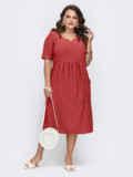 Приталенное платье батал терракотового цвета в полоску 53789, фото 2