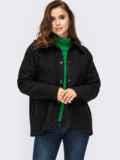 Короткое пальто из букле без подкладки черное 55280, фото 2