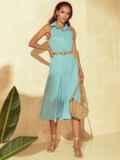 Расклешенное платье с американской проймой мятное 53855, фото 2