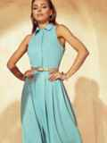 Расклешенное платье с американской проймой мятное 53855, фото 3