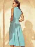Расклешенное платье с американской проймой мятное 53855, фото 4