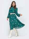 Зеленое платье с флористическим принтом 45080, фото 3