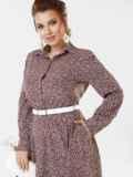 Бежевое платье-рубашка большого размера в горошек 53647, фото 4