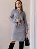 Платье из замши с воротником-аскот серое 52879, фото 3