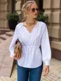 Белая блузка с рукавом-реглан и кулиской по талии 49768, фото 2