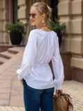 Белая блузка с рукавом-реглан и кулиской по талии 49768, фото 3