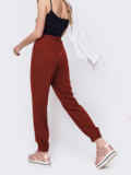 Брюки-джоггеры бордового цвета с завышенной талией 54036, фото 2