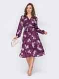 Фиолетовое платье на запах с цветочным принтом 53421, фото 2