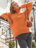 Оранжевый свитер свободного кроя с воротником 54904, фото 2