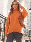 Оранжевый свитер свободного кроя с воротником 54904, фото 3