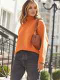 Оранжевый свитер свободного кроя с воротником 54904, фото 4