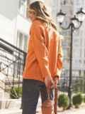 Оранжевый свитер свободного кроя с воротником 54904, фото 5