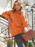 Оранжевый свитер свободного кроя с воротником 54904, фото 6