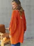 Вязаный кардиган на пуговицах оранжевый 54907, фото 4