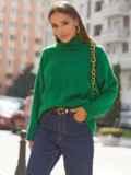 Зелёный свитер свободного кроя с воротником 54903, фото 2