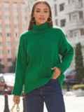 Зелёный свитер свободного кроя с воротником 54903, фото 3