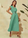 Мятное платье из льна с расклешенной юбкой 53843, фото 4