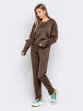 Брючный костюм со свитшотом коричневый 50155, фото 2