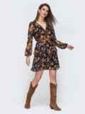 Чёрное платье с принтом и оборками по низу 45084, фото 2