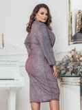 Платье большого размера с люрексом серое 43243, фото 2