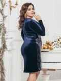 Тёмно-синее платье из велюра с пайетками на полочке 43263, фото 2
