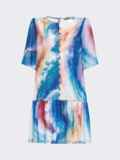 Шифоновое платье с принтом тай-дай и воланом по низу голубое 53796, фото 4