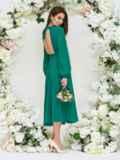 Платье с открытой спиной и юбкой-солнце зеленое 44748, фото 5